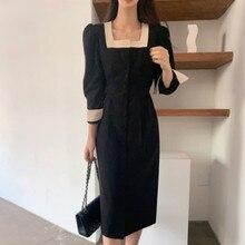 Vestido feminino elegante quadrado pescoço bandage cintura botão manga longa bezerro comprimento vestido preto escritório vestidos
