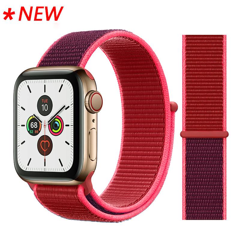 Для наручных часов Apple Watch, версии 3/2/1 38 мм 42 мм нейлон мягкий дышащий нейлон для наручных часов iWatch, сменный ремешок спортивный бесшовный series4/5 40 мм 44 мм - Цвет ремешка: 56 Red Sport