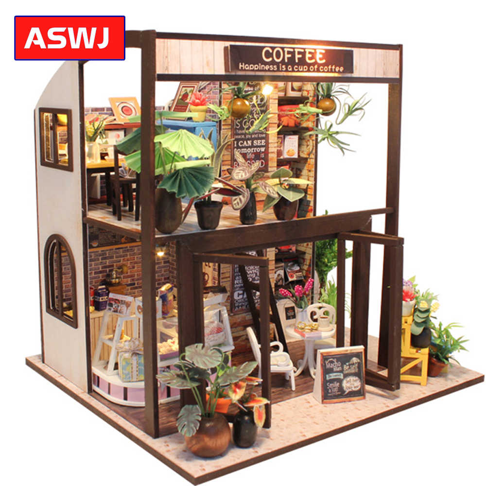DIY Doll House Miniature DIY Dollhouse With Furnitures Wooden House Waiting Time Toys For Children Christmas Birthday Gifts