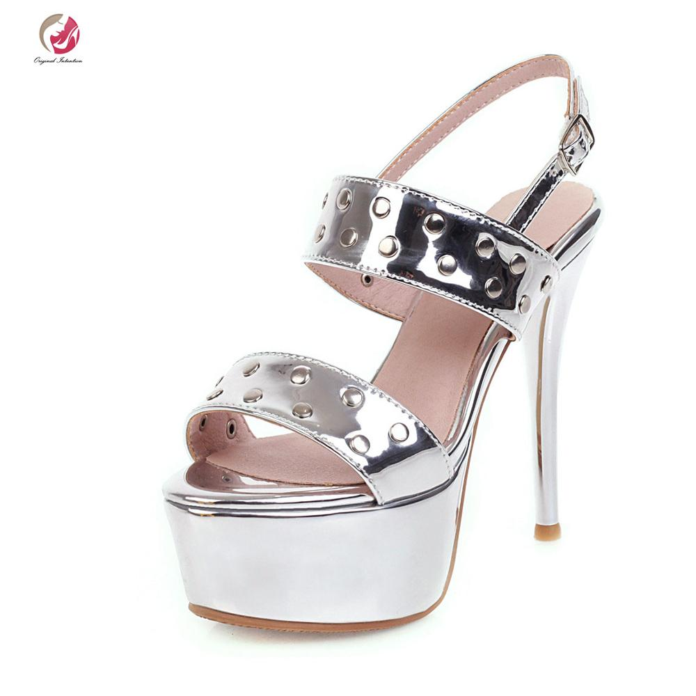 Original Intention Fashion Sandals Woman Platform Stiletto High Heels Open Toe Black Green Yellow Silver Sexy Party Shoes Female