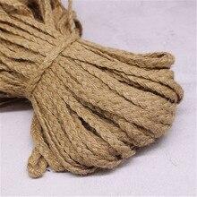 10m Natural Hemp Flat Rope Braided Cord Jute Burlap Ribbon Rustic Vintage Wedding DIY Gift Packing Decor Weave Hemp Rope String