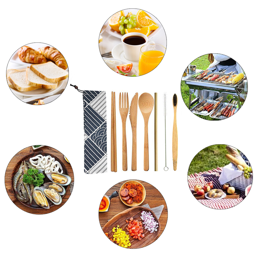 7pcs Eco friendly Portable Bamboo Utensils Travel Cutlery Set Reusable Outdoor Cutlery Set wooden Spoon Fork Chopstick Brush in Dinnerware Sets from Home Garden