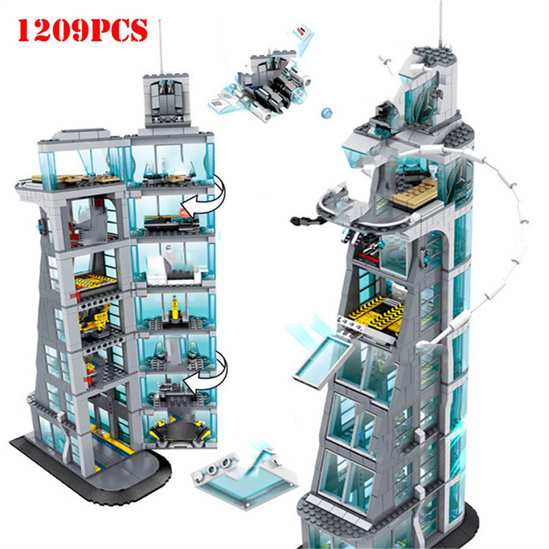 1209 + pcs الأعاجيب خارقة الرجل الحديدي المنتقم برج ألعاب مكعبات البناء متوافق Legoed مدينة تكنيك المنتقمون الطفل الطوب اللعب-في حواجز من الألعاب والهوايات على  مجموعة 1