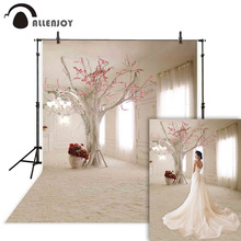 Allenjoy Wedding photography backdrop white window curtain flower tree background photo studio shoot prop photocall photophone