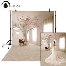 Фон для свадебной фотосъемки Allenjoy с белым окном занавеской цветочным деревом фон для фотостудии реквизит для фотосессии Фотофон