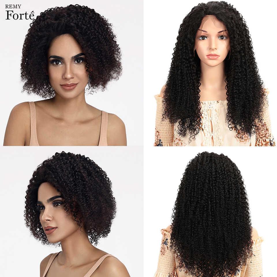 Remy Форте Синтетические волосы на кружеве человеческих волос парики 13x4 Синтетические волосы на кружеве al кудрявый парик короткие настоящие человеческие волосы парик 100% волосы Remy парики из бразильского волоса