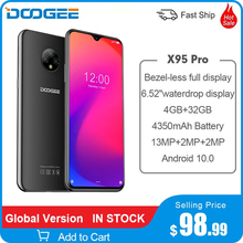 Doogee x95 pro helio a20 6.52 4 4 4gb ram 32gb rom 13mp câmera tripla 4350mah smartphones do telefone móvel android10 os 4g-lte