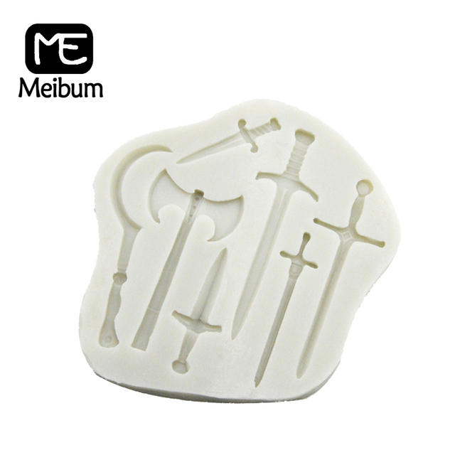 Meibum Crusader Weapons Swords Axe Pattern Silicone Fondant Cake Mold Cookies Chocolate Gum Paste Sugar Craft Decorating Mould