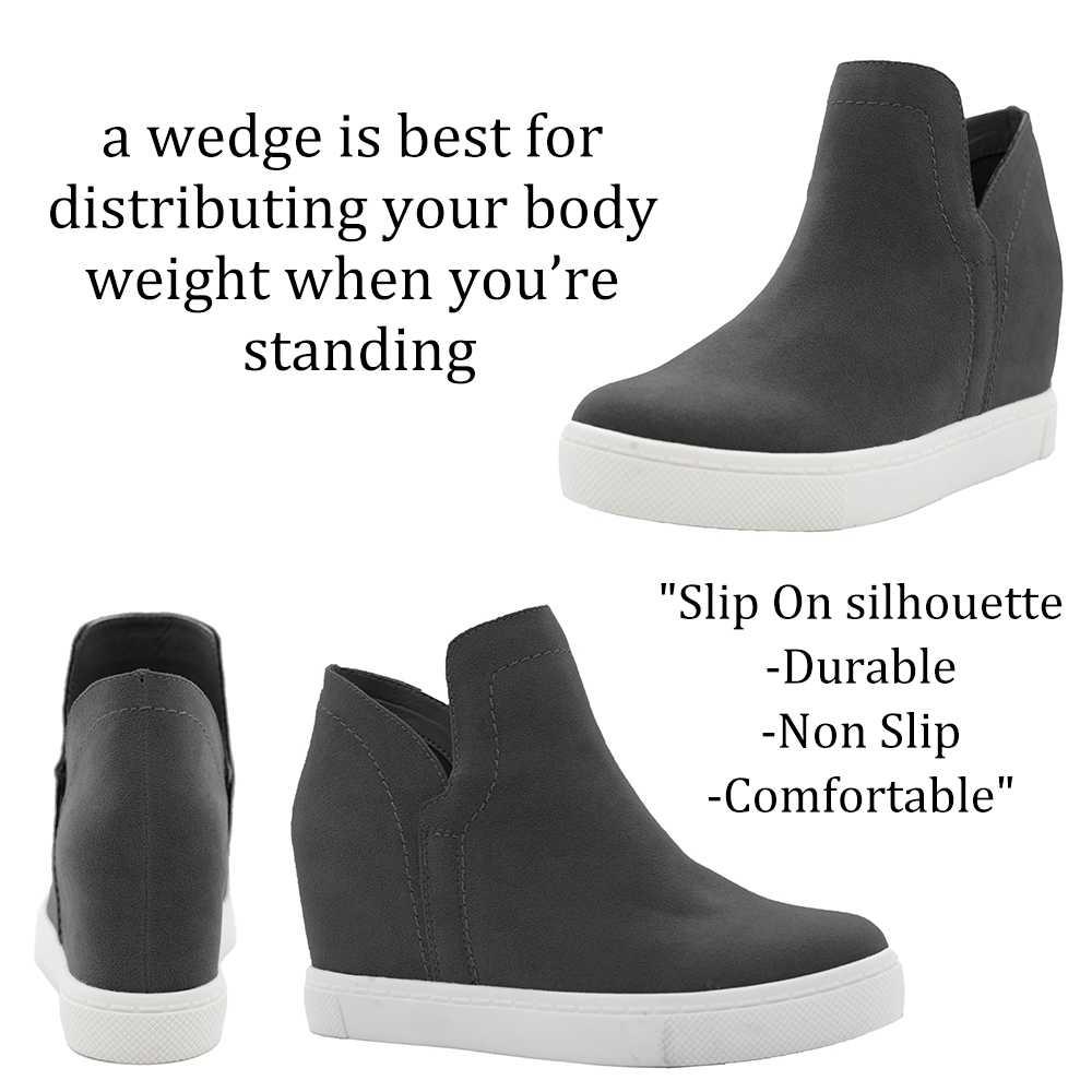 Kadın platformu gizli takozlar üzerinde kayma rahat yüksek Top ayak bileği vulkanize ayakkabı rahat nefes siyah yürüyüş ayakkabısı 2019