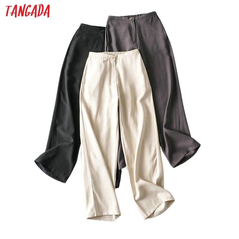 Tangada 2020 Summer Fashion Women Beige Long Suit Pants Trousers Pockets Strethy Waist Office Lady Pants Pantalon AI25