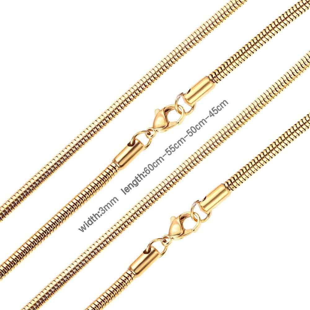 Luxusteel Nam Nữ Rắn Dây Chuyền Vòng Cổ Nữ Dây Thép Vàng Không Gỉ/Màu Bạc Lấp Đầy Tôm Hùm Khóa Vòng Cổ Cho Mặt Dây Chuyền BIJOUX