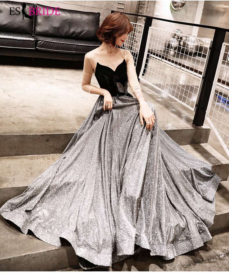 Sexy Strapless Evening Dress Long Black Starry Sky Special Occasion Dresses Backless Evening Dresses 2019 Black Gown ES2503 in Evening Dresses from Weddings Events