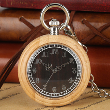 Classic Large Dial Wooden Case Pocket Watch Men Women Attractive Silver Pendant Chain Watches