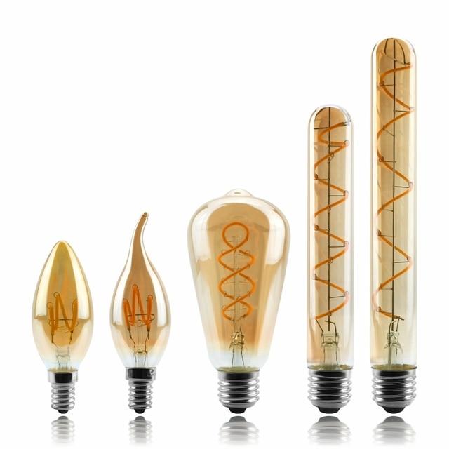 Dimmable אדיסון מנורת 4W 2200K C35 T45 A60 ST64 G80 G95 G125 ספירלת אור LED נימה הנורה רטרו מנורת תאורה דקורטיבית