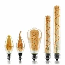 Lâmpada regulável de edison, 4w 2200k c35 t45 a60 st64 g80 g95 g125, espiral, filamento retrô iluminação decorativa de lâmpada