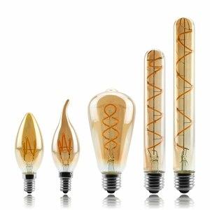 Image 1 - Lâmpada regulável de edison, 4w 2200k c35 t45 a60 st64 g80 g95 g125, espiral, filamento retrô iluminação decorativa de lâmpada
