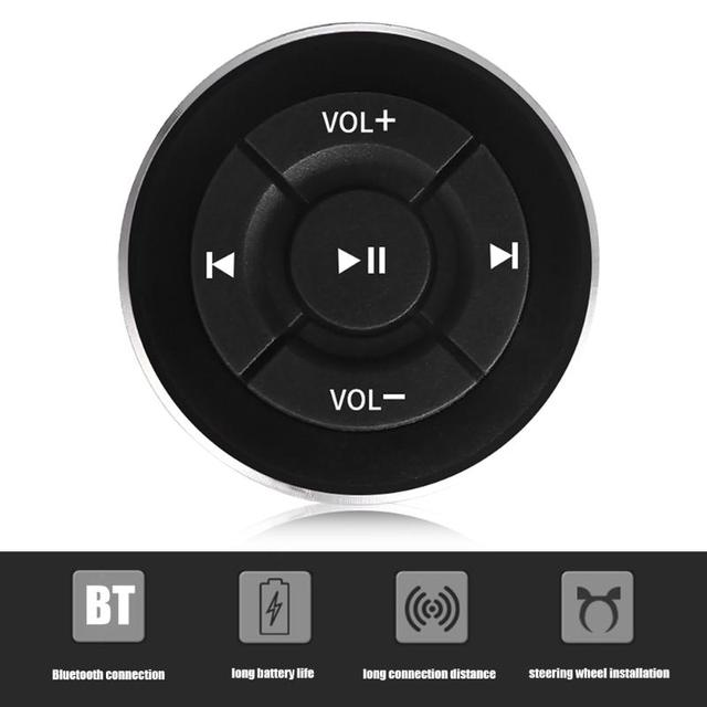 Bluetooth Car Remote Controller Classic Colors and Simple Durable Design Steering Wheel Media Shutter for iPhone Android