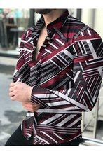 Camisa holgada de manga larga para hombre. Ropa de Estilo Hawaiano con estampado de vacaciones de talla grande informal con la