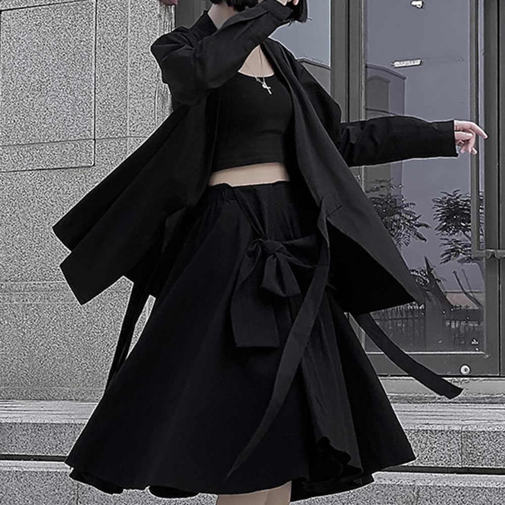 2020 Nieuwe Harajuku Japanse Stijl Zwarte Jas Vrouwen Gothic Fashion Lace Up Losse Oversized Jas Lange Mouw Uitloper Casual Jassen