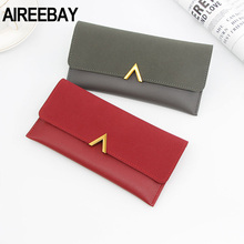 AIREEBAY Luxury Brand Women Wallets Long Fashion PU Leather
