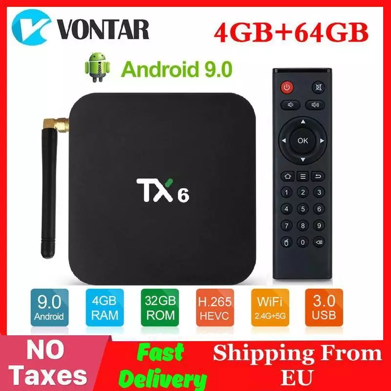 4K Smart TV Box Android 9.0 TX6 Allwinner H6 4GB RAM 64GB ROM 2/16G 32G BT 2.4G/5GHz Dual WiFi Media Player TX6 MINI Set Top Box
