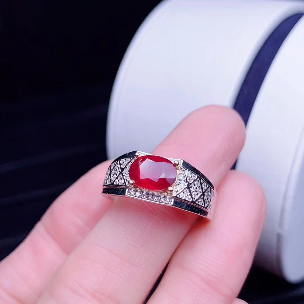 Exquisite Ring Man Ring Ruby Gemstone Ring 925 Sterling Silver Golden Claw Natural Real Gem Birthday Party Gift Attractive Ring