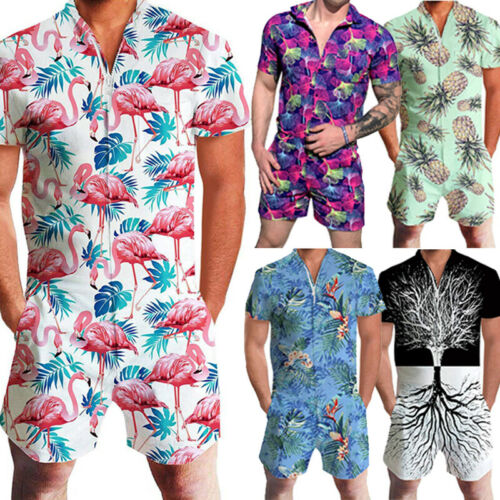 Men Rompers Short Sleeve Street One Piece Zipper Romper Beach Casual Cargo Pants Jumpsuit Overall Shirt T-Shirt Shorts Set