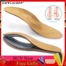 Plantilla ortopédica de cuero para pies planos soporte ortopédico con arco zapatos plantillas para suelas para pies hombres mujeres niños O/X pierna corregida