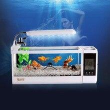 مصغرة بيتا الأسماك الدبابات حوض السمك LED الإضاءة خزان الأسماك مع حامل قلم شاشة الكريستال السائل الشاشة و ساعة حوض سمك صغير Pecera