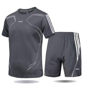 Комплект спортивной одежды для мужчин, Спортивная рубашка с коротким рукавом, мужской костюм для бега, комплект из 2 предметов для футбола, тренажерного зала, фитнеса, мужские футболки + шорты