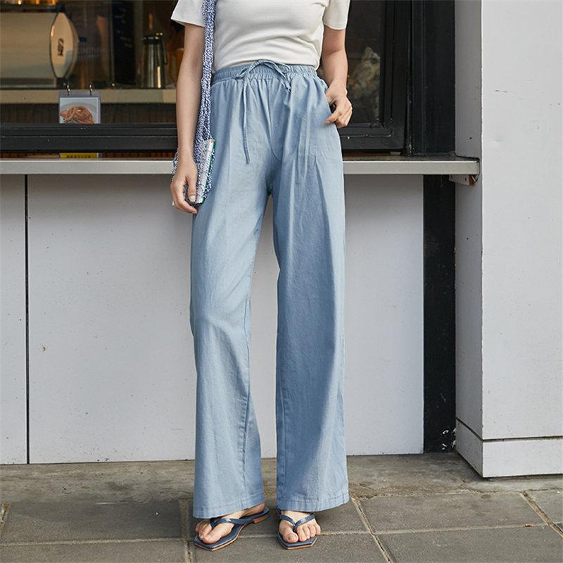 Alien Kitty Wide Leg Pants All Match Elastic-Waist Chic 2020 Blue High Waist Free Women Slender Loose Straight Casual Trousers