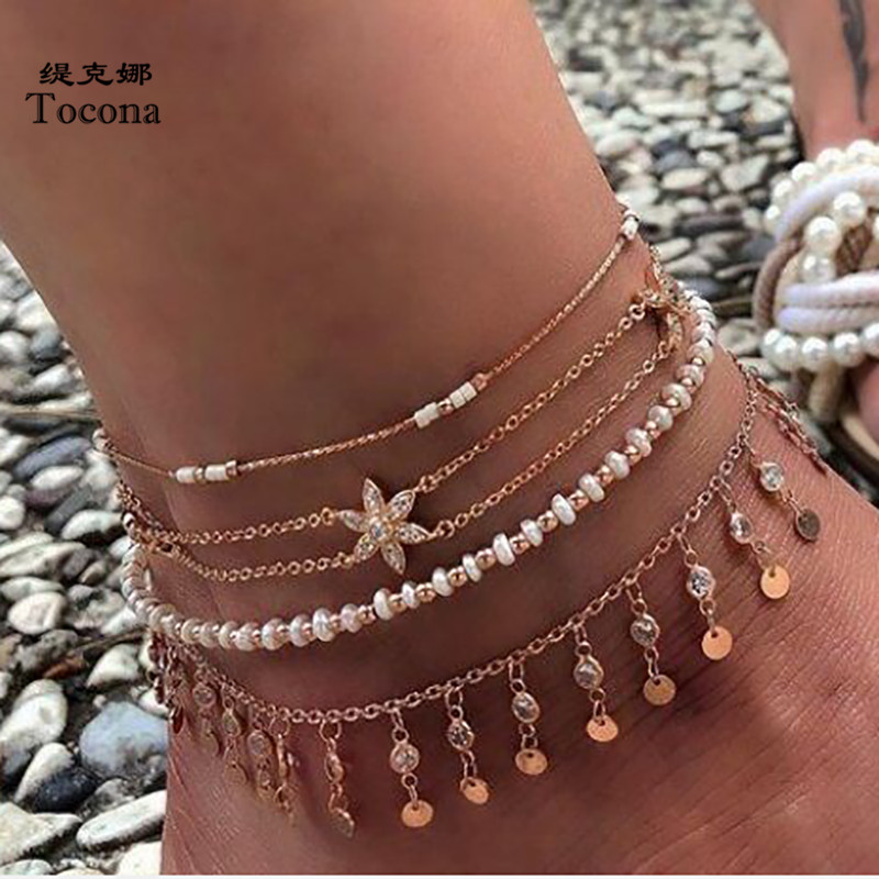Tocona 4pcs/sets Beaded Tassel Anklets Pretty Flowers Clear Crystal Stone Foot Chain Women Accessories Summer Jewelry 8284