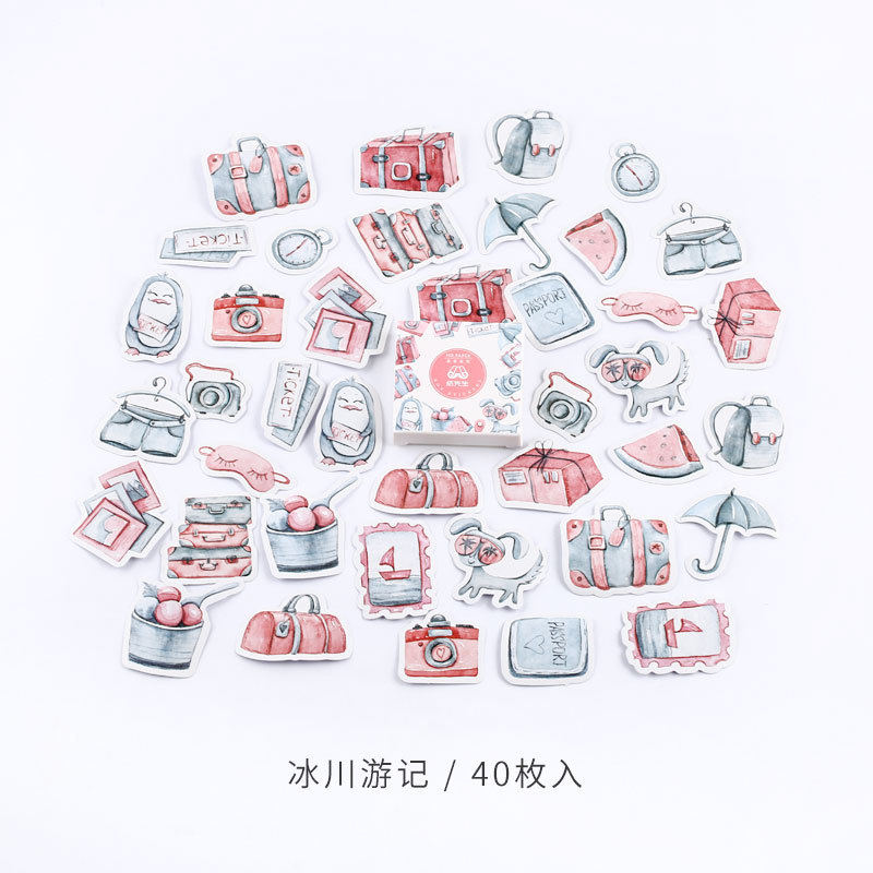 45 Pcs/Box Iceberg Travelling Paper Stickers DIY Stick Label Phone Hand Account Diary Sticker