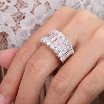 Luxury Solid 14K  Moissanite Diamond  Round Cut Half Eternity Wedding Band 4