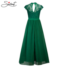 SERMENT Autumn Lace Long Stand Sleeveless Openwork Sexy Dress  Formal Women Elegant Suitable Work Clothes Party Ball