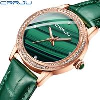 Frauen Grün Uhr CRRJU Mode Luxus Diamant Uhren Damen Kleid Einfache Mesh Armband Wasserdicht Quarz Uhren reloj mujer