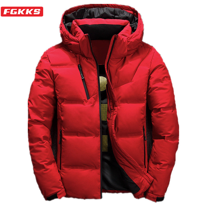 FGKKS Quality Brand Men Down Jacket Men's Slim Thick Warm Solid Color Hooded Down Coats Fashion Casual Down Jackets Male
