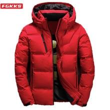 FGKKS marka jakości mężczyźni dół kurtki Slim grube ciepłe jednokolorowe płaszcze z kapturem moda Casual dół kurtki męskie