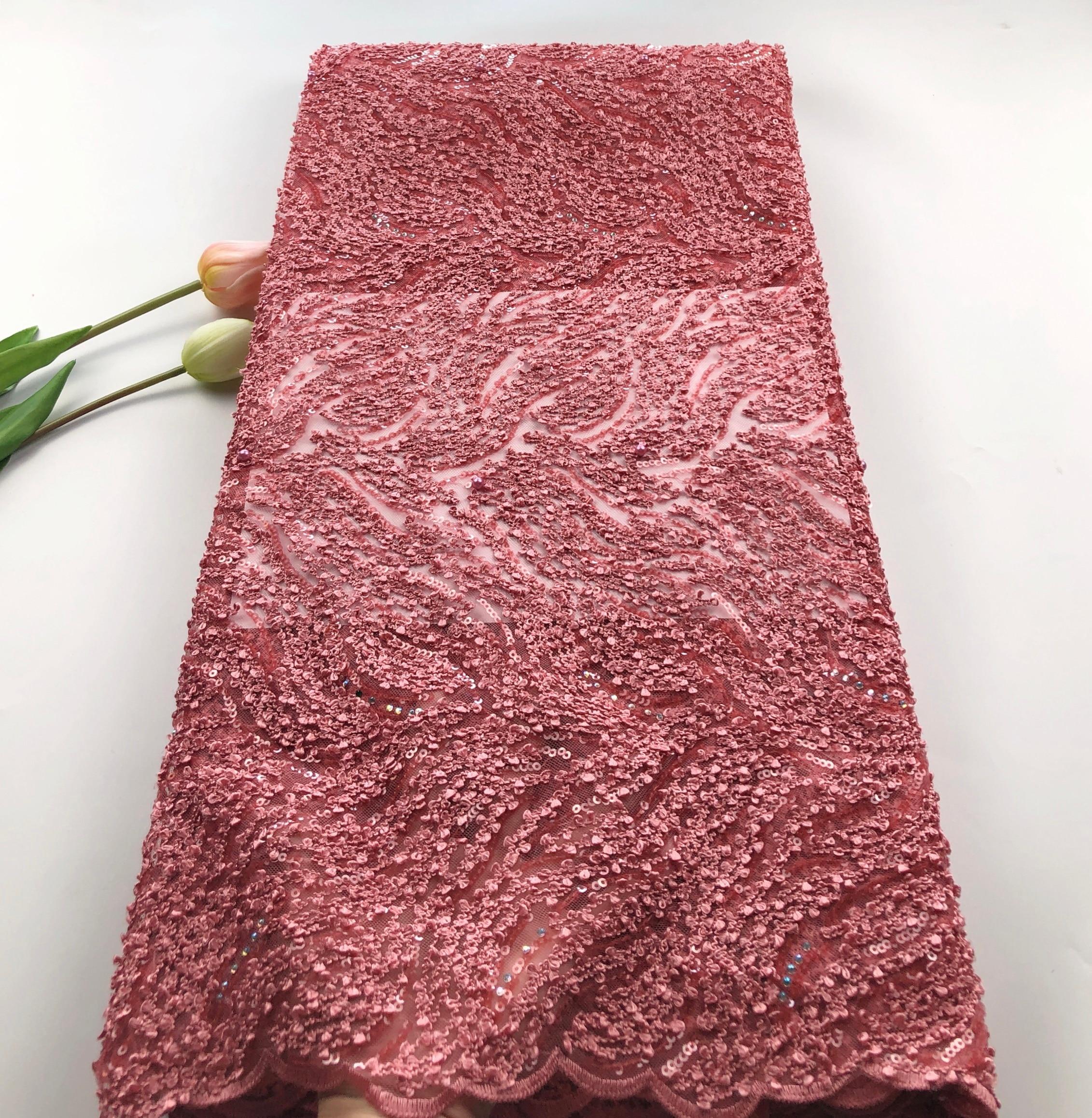 Новая мода африканская сетка тюль кружевная ткань с блестками 5 ярдов африканская французская кружевная ткань с блестками QCOC221