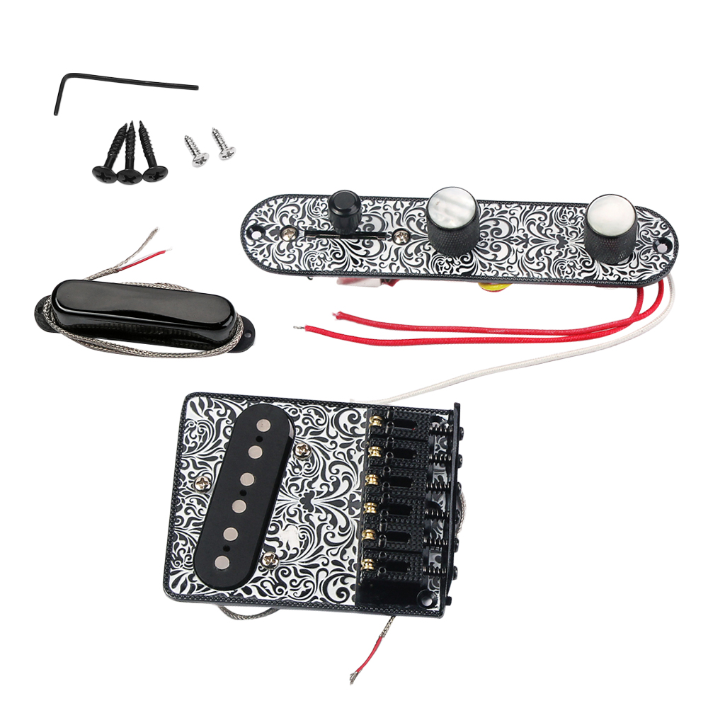 1 Set 6 Snarige Elektrische Gitaar Zadel Brug Staartstuk Hardtail + Wired Controle Plaat + Hals Pickup Black Luthier Supply - 4