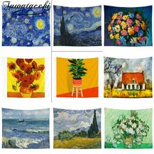 Fuwatacchi Van Gogh drukuj gobeliny ścienne wiszące gobeliny słonecznika dekoracyjne koc z tkaniny sypialnia Home Decor tanie tanio flower other retail Pranie ręczne JJGT012361 Floral Drukowane Zwykły Tkane rectangle Tapestry Mandala Tapestry Wall Hanging
