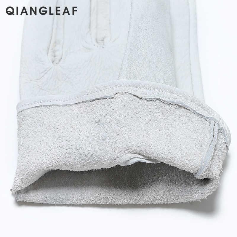 QIANGLEAF di Marca guanti di Sicurezza D Grado Grano Bianco guanti guanto di Cuoio del Driver Degli Uomini del Commercio All'ingrosso Guanti Bianchi di Trasporto libero 130