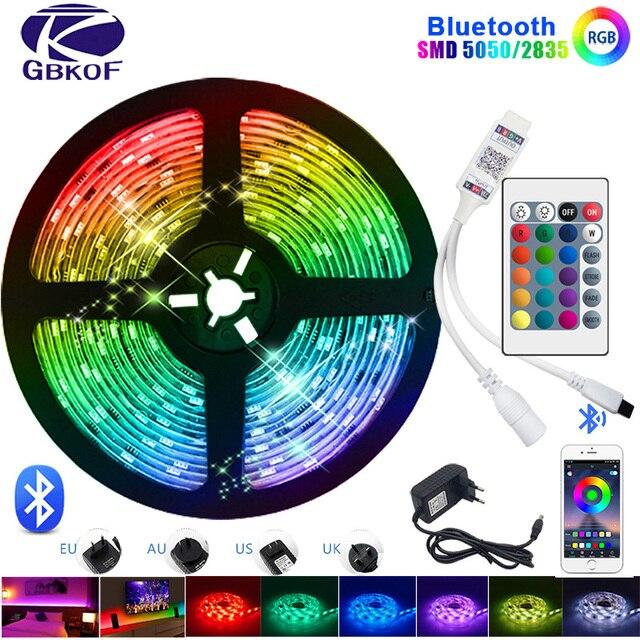 Bluetooth Led Strip Licht Rgb 5050 Smd 2835 Flexibele Lint Fita Led Light Strip Rgb 5M 10M 15M Tape Diode DC12V 60LED/M + Adapter
