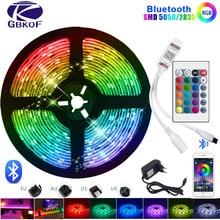 블루투스 LED 스트립 빛 RGB 5050 SMD 2835 유연한 리본 Fita Led 빛 스트립 RGB 5M 10M 15M 테이프 다이오드 DC12V 60LED/M + 어댑터