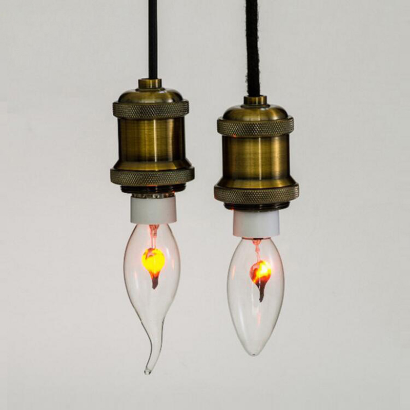 Tungsten Novel Candle Tip Lamp Orange Red E27 E14 3W Vintage Industrial Filament LED Light Bulb Lamps Bulbs Edison Edison Bulb