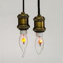 Nueva lámpara de punta de vela de tungsteno naranja rojo E27 E14 3W Vintage Industrial filamento LED Bombilla bombillas Edison bombilla