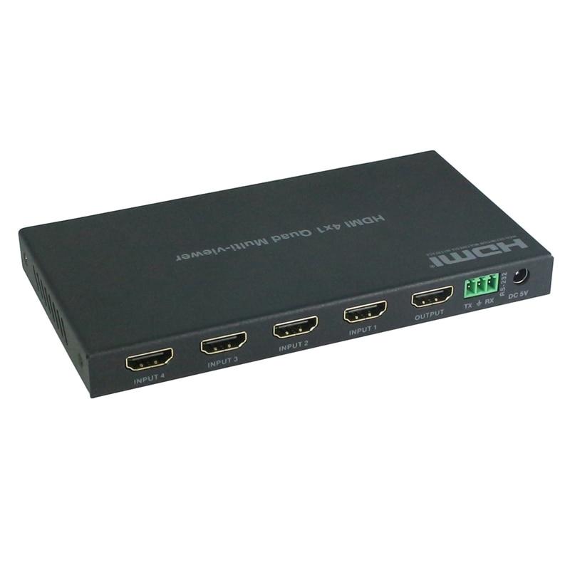 HDMI 4X1 Quad Multiviewer HDMI Switcher Splitter 4 In 1 Out Video Converter(EU Plug)