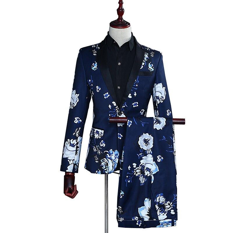 Fashion Men's Suit Formal Wear Blue Suit Set Black Lapel Slim Print Suit (Jacket+Pants) Party Banquet Wedding Costume Suit Set