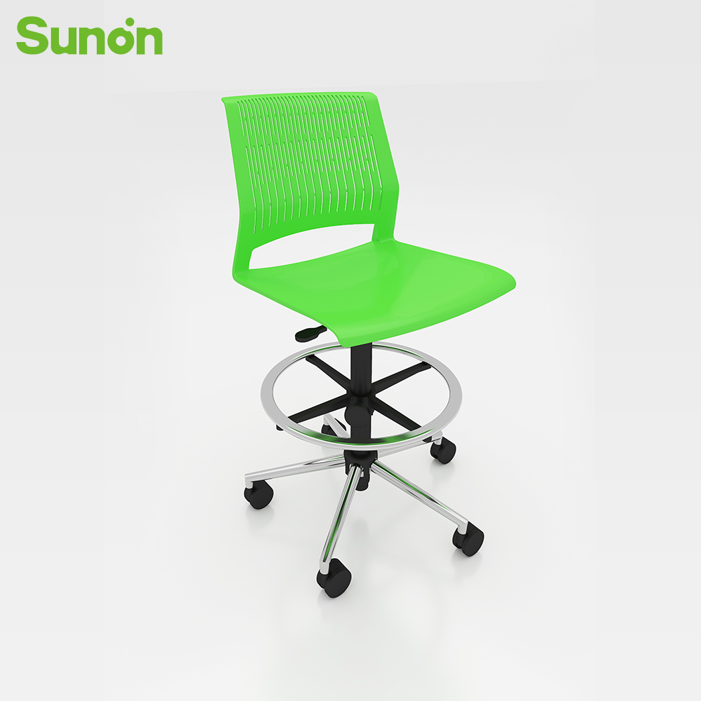 High Quality Hot Sale Staff Chairs Ergonomic Medium Back Meeting Chair Plastic Frame With Hemp Cushion