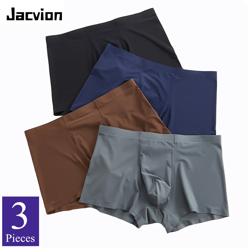 3 Pieces/Pack Underwear Men Boxer Seamless Ice Silk Thin Breathable Cool Shorts Big Size Men's Underwear Boxer For Male